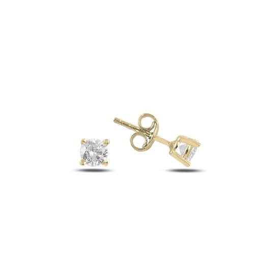Ürün resmi: Altın Kaplama 4mm Zirkon Tektaş Gümüş Küpe