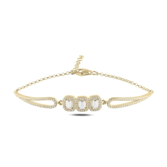 Ürün resmi: Altın Kaplama Zirkon Taşlı Gümüş Bayan Bileklik