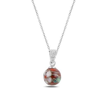 Resim Rodyum Kaplama Sallantılı Top Gümüş Bayan Kolye