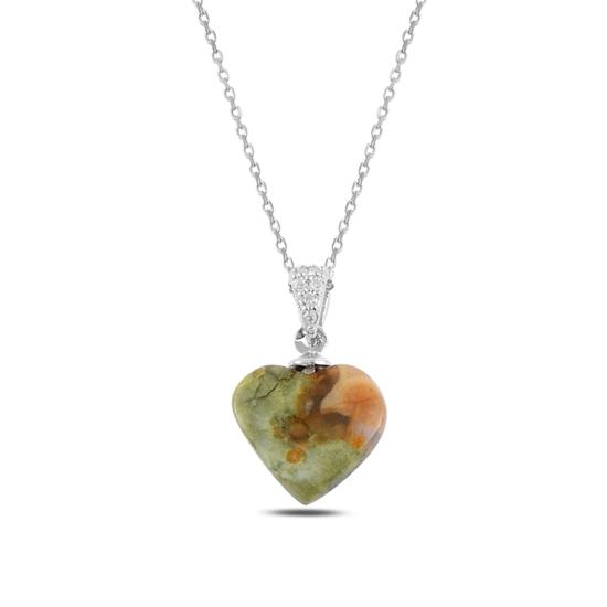 Ürün resmi: Rodyum Kaplama Kalp Doğal Taşlı Gümüş Bayan Kolye