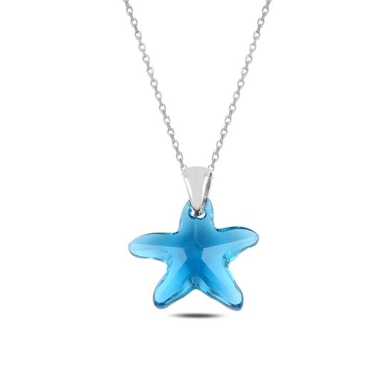 Ürün resmi: Rodyum Kaplama Kristal Deniz Yıldızı Gümüş Bayan Kolye