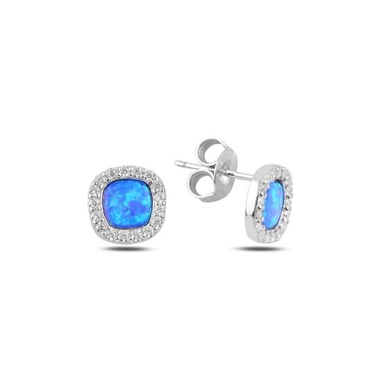Ürün resmi: Rodyum Kaplama Kare Opal & Zirkon Taşlı Gümüş Küpe