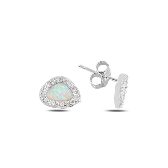 Ürün resmi: Rodyum Kaplama Asimetrik Opal & Zirkon Taşlı Gümüş Küpe