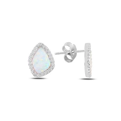 Resim Rodyum Kaplama Asimetrik Opal & Zirkon Taşlı Gümüş Küpe