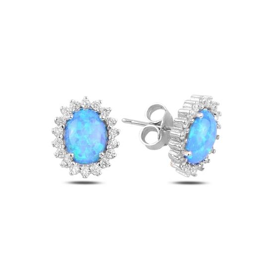 Ürün resmi: Rodyum Kaplama Oval Opal & Zirkon Taşlı Gümüş Küpe