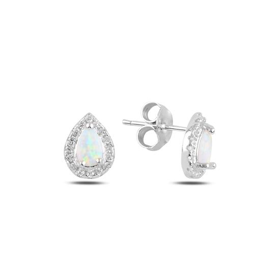 Ürün resmi: Rodyum Kaplama Damla Opal & Zirkon Taşlı Gümüş Küpe