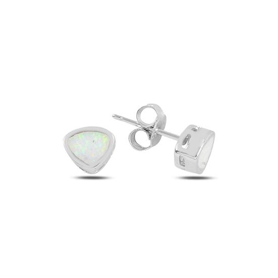 Ürün resmi: Rodyum Kaplama Asimetrik Üçgen Opal Taşlı Gümüş Küpe