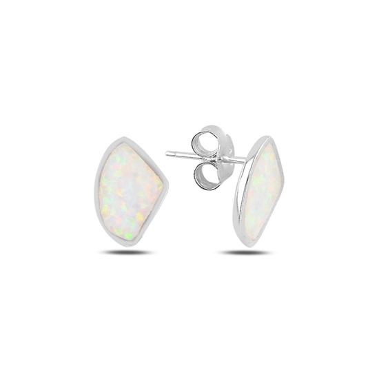 Ürün resmi: Rodyum Kaplama Asimetrik Opal Taşlı Gümüş Küpe