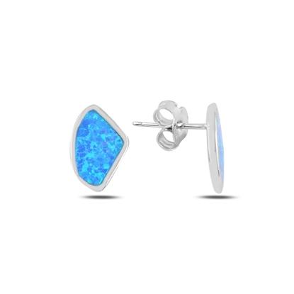 Resim Rodyum Kaplama Asimetrik Opal Taşlı Gümüş Küpe