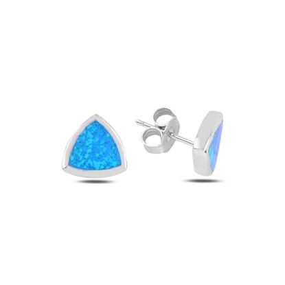 Resim Rodyum Kaplama Reuleaux Üçgeni Opal Taşlı Gümüş Küpe
