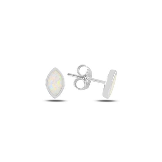Ürün resmi: Rodyum Kaplama Mekik Opal Taşlı Gümüş Küpe