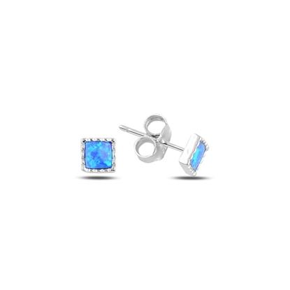 Resim Rodyum Kaplama Kare Opal Taşlı Gümüş Küpe