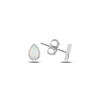 Resim Rodyum Kaplama Damla Opal Taşlı Gümüş Küpe