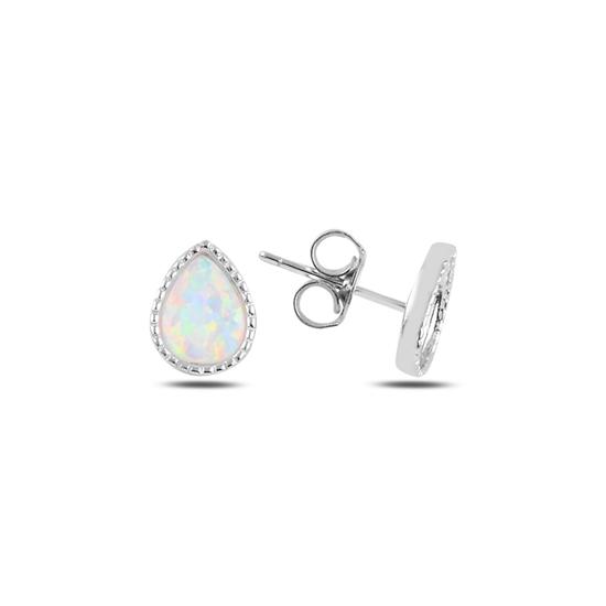 Ürün resmi: Rodyum Kaplama Damla Opal Taşlı Gümüş Küpe