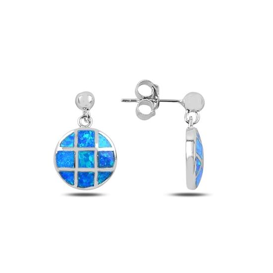 Ürün resmi: Rodyum Kaplama Opal Taşlı Gümüş Sallantılı Küpe