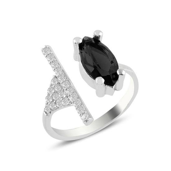 Ürün resmi: Rodyum Kaplama Siyah Mekik Zirkon Taşlı Tektaş Gümüş Bayan Yüzük
