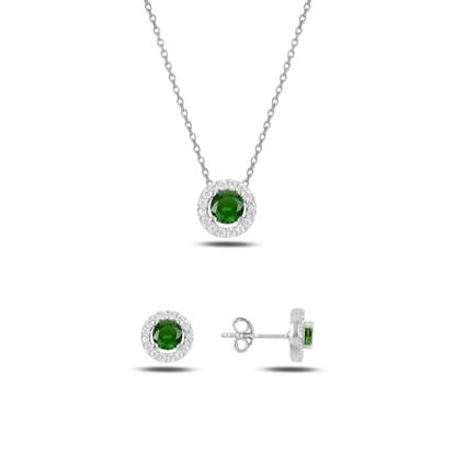 Resim Rodyum Kaplama Zümrüt Zirkon (Yeşil) Yuvarlak Renkli Zirkon Taşlı Gümüş Bayan Set