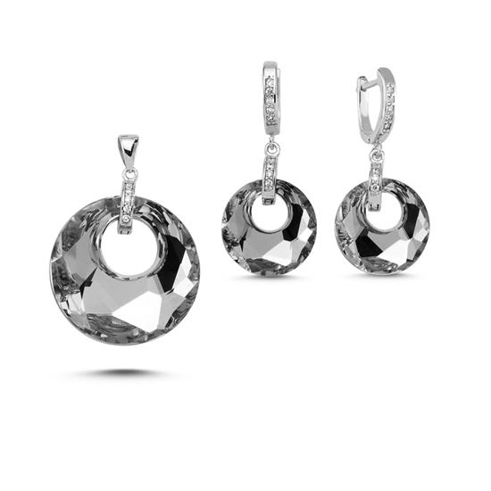 Ürün resmi: Rodyum Kaplama Kristal Taşlı Gümüş Bayan Set