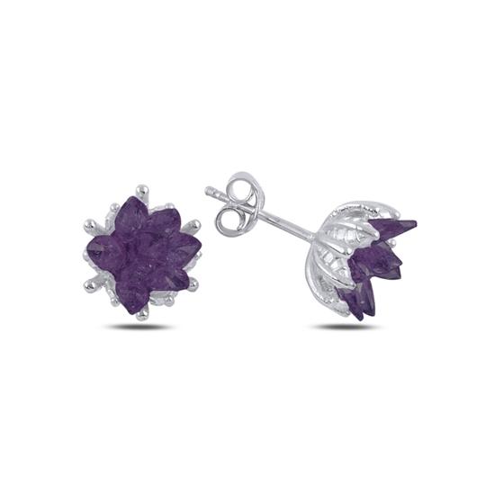 Ürün resmi: Rodyum Kaplama Zirkon Taşlı Lotus Çiçeği Çivili Gümüş Küpe
