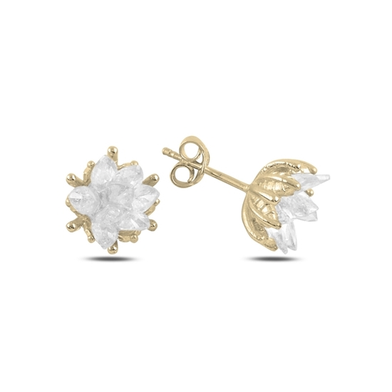 Ürün resmi: Altın Kaplama Zirkon Taşlı Lotus Çiçeği Çivili Gümüş Küpe