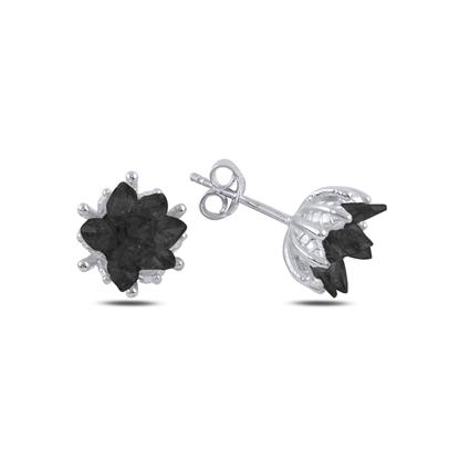 Resim Rodyum Kaplama Zirkon Taşlı Lotus Çiçeği Çivili Gümüş Küpe