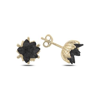 Resim Altın Kaplama Zirkon Taşlı Lotus Çiçeği Çivili Gümüş Küpe