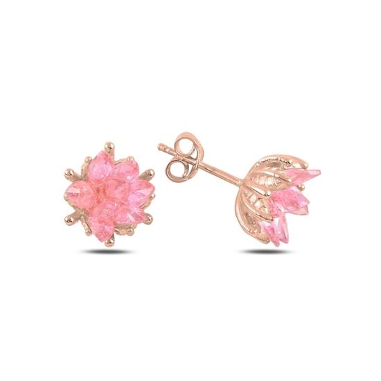 Ürün resmi: Rose Kaplama Zirkon Taşlı Lotus Çiçeği Çivili Gümüş Küpe