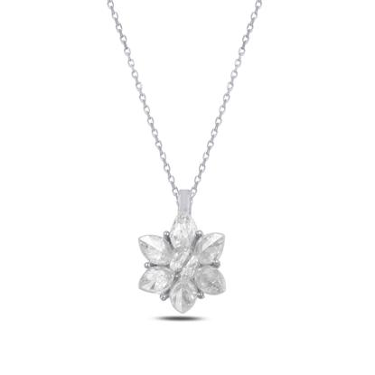 Resim Rodyum Kaplama Zirkon Taşlı Lotus Çiçeği Gümüş Bayan Kolye