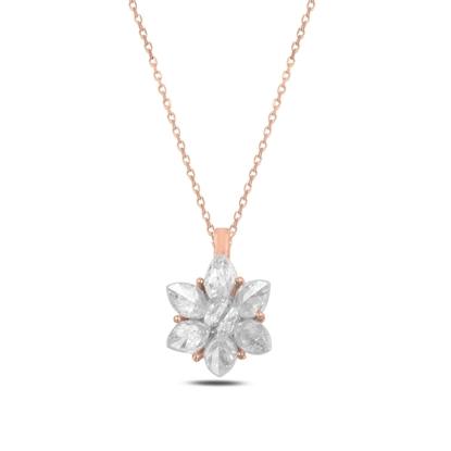 Resim Rose Kaplama Zirkon Taşlı Lotus Çiçeği Gümüş Bayan Kolye