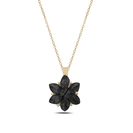 Ürün resmi: Altın Kaplama Zirkon Taşlı Lotus Çiçeği Gümüş Bayan Kolye