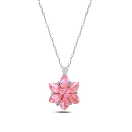 Ürün resmi: Rodyum Kaplama Zirkon Taşlı Lotus Çiçeği Gümüş Bayan Kolye