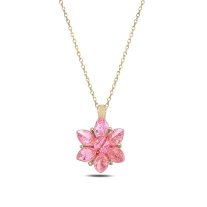 Resim Altın Kaplama Zirkon Taşlı Lotus Çiçeği Gümüş Bayan Kolye