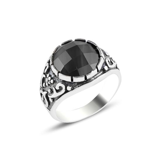 Ürün resmi: Kilim Desenli Yuvarlak Siyah Zirkon Taşlı Gümüş Erkek Yüzük