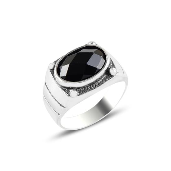 Ürün resmi: Oval Siyah Zirkon Taşlı Oksitli Gümüş Erkek Yüzük
