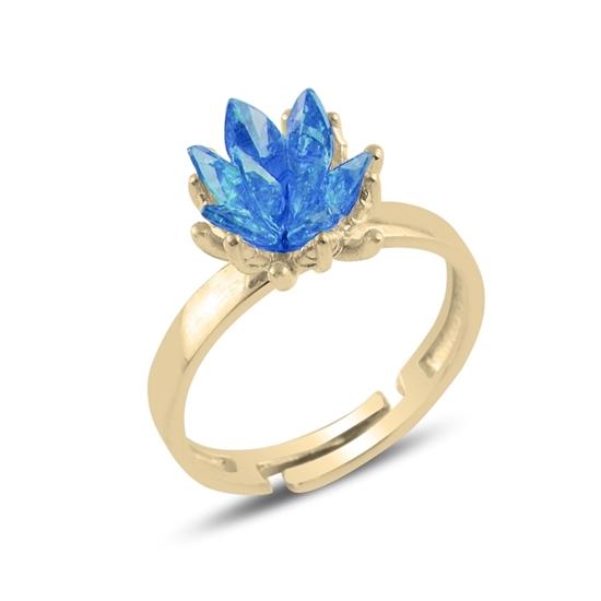 Ürün resmi: Altın Kaplama Zirkon Taşlı Lotus Çiçeği Gümüş Bayan Yüzük