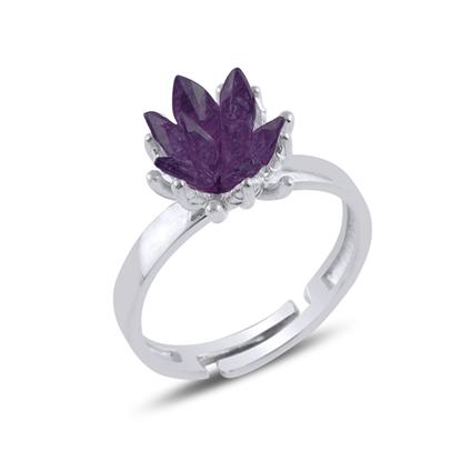 Resim Rodyum Kaplama Zirkon Taşlı Lotus Çiçeği Gümüş Bayan Yüzük