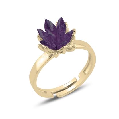 Resim Altın Kaplama Zirkon Taşlı Lotus Çiçeği Gümüş Bayan Yüzük