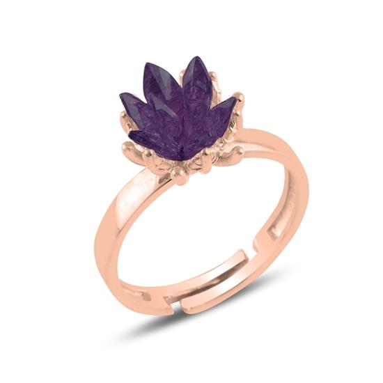 Ürün resmi: Rose Kaplama Zirkon Taşlı Lotus Çiçeği Gümüş Bayan Yüzük