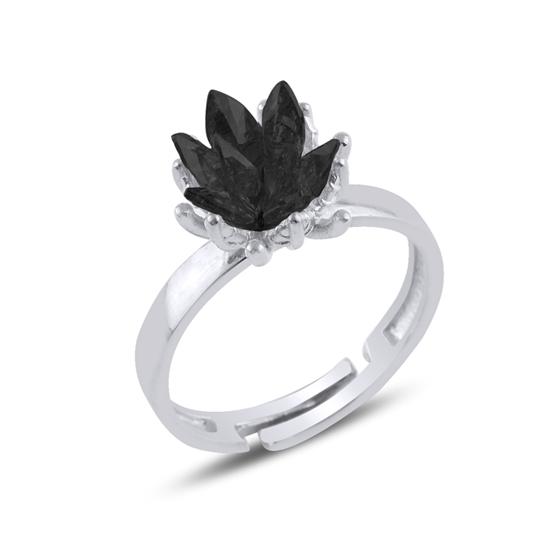Ürün resmi: Rodyum Kaplama Zirkon Taşlı Lotus Çiçeği Gümüş Bayan Yüzük