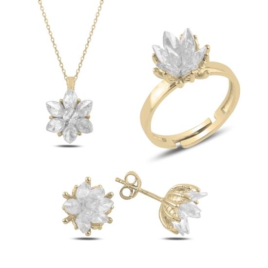 Ürün resmi: Altın Kaplama Zirkon Taşlı Lotus Çiçeği Gümüş Bayan Set