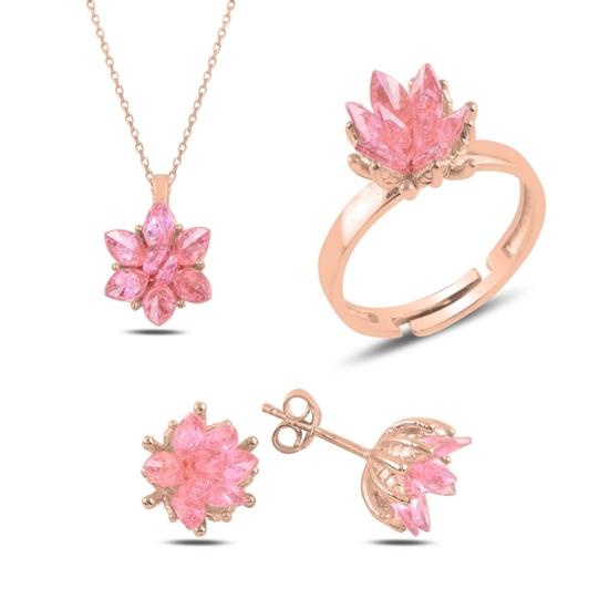 Ürün resmi: Rose Kaplama Zirkon Taşlı Lotus Çiçeği Gümüş Bayan Set