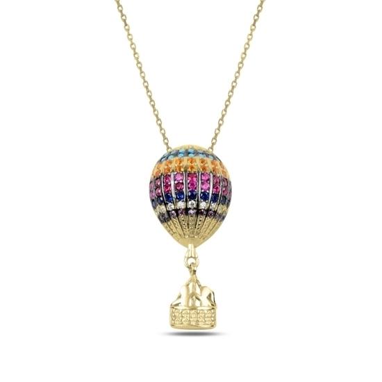 Ürün resmi: Altın Kaplama Zirkon Taşlı Sıcak Hava Balonu Gümüş Bayan Kolye