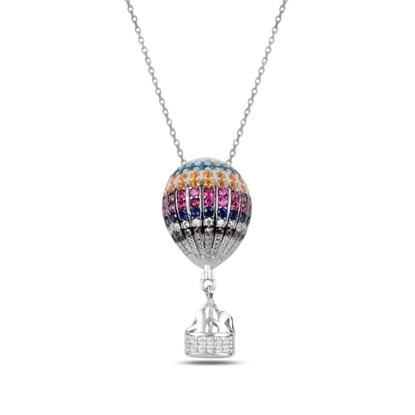 Resim Rodyum Kaplama Zirkon Taşlı Sıcak Hava Balonu Gümüş Bayan Kolye