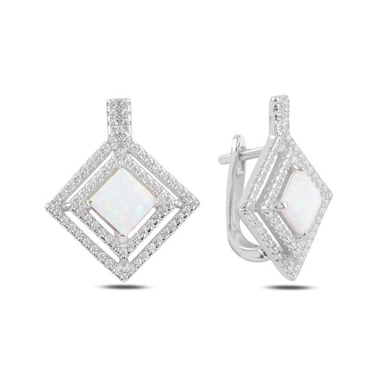 Ürün resmi: Rodyum Kaplama Beyaz Opal & Zirkon Taşlı Gümüş J Küpe