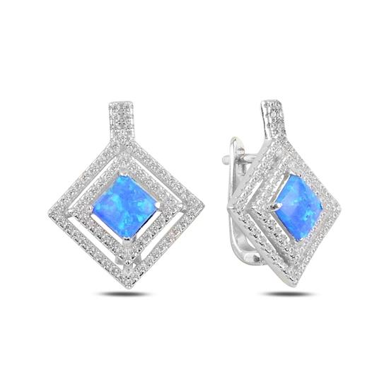 Ürün resmi: Rodyum Kaplama Opal & Zirkon Taşlı Gümüş J Küpe