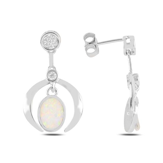 Ürün resmi: Rodyum Kaplama Beyaz Opal & Zirkon Taşlı Sallantılı Çivili Gümüş Küpe