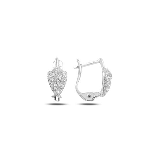 Ürün resmi: Rodyum Kaplama Zirkon Taşlı J Gümüş Kız Çocuk Küpesi