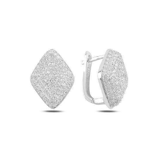 Ürün resmi: Rodyum Kaplama Dörtgen Zirkon Taşlı Gümüş J Küpe
