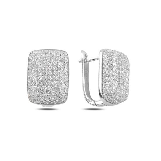 Ürün resmi: Rodyum Kaplama Dikörtgen Zirkon Taşlı Gümüş J Küpe