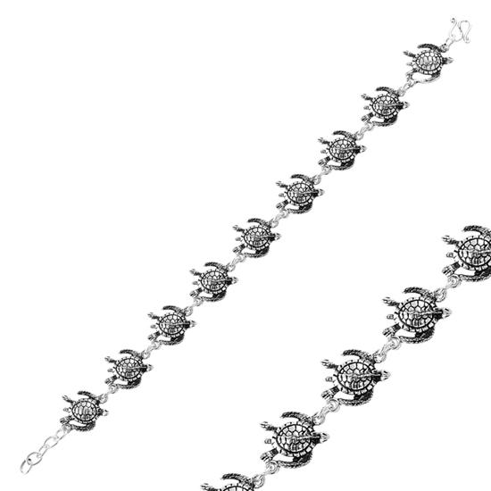 Ürün resmi: Oksitli Deniz Kaplumbağası Taşsız Gümüş Bayan Bileklik